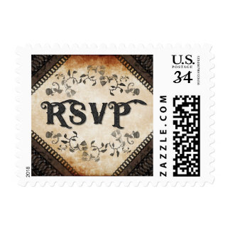Halloween Brown Gothic Matching Wedding RSVP Postage