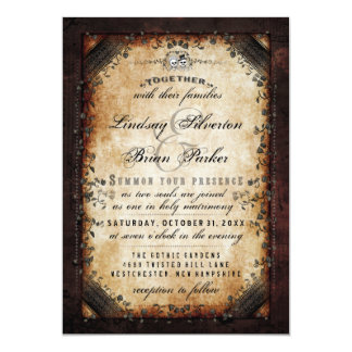 "Halloween Brown Gothic ""Together With"" RECEPTION Card"