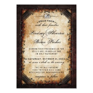 """Halloween Brown Gothic """"Together With"""" Skeleton Card"""