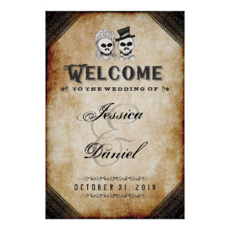 Halloween Brown Skeletons 24x36 Welcome to Wedding Poster