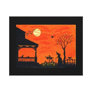 Halloween, bruja, cráneo, palos lona estirada galerias