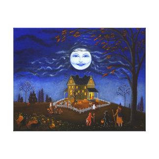 Halloween, bruja, diablo, cráneo, palos, fantasma impresión en lienzo estirada