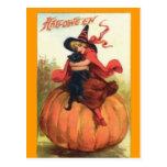 Halloween, bruja, negro, gato, postal