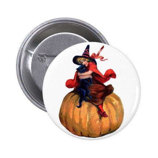 Halloween - bruja pin redondo 5 cm