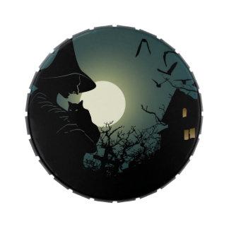 Halloween: bruja y casa hounted frascos de dulces