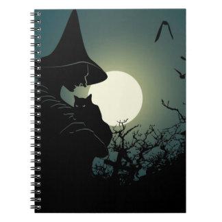 Halloween: bruja y casa hounted libro de apuntes con espiral