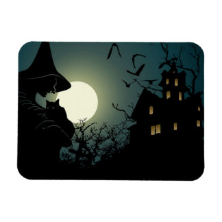 Halloween: bruja y casa hounted rectangle magnet