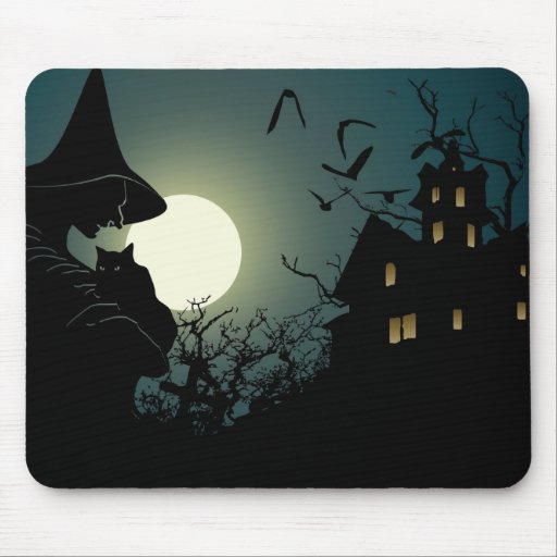 Halloween: bruja y casa hounted tapete de ratón