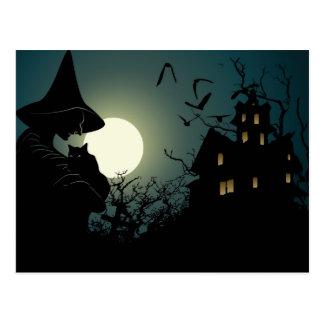Halloween: bruja y casa hounted postales