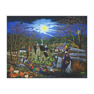Halloween, brujas, magos, Jack-O-Linternas Lona Envuelta Para Galerias