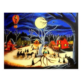 Halloween brujas negro gato caliente balón de postal