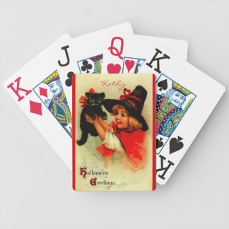 Halloween Brundage Girl with Black Hat and Cat Bicycle Playing Cards