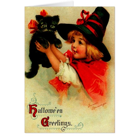 Halloween Brundage Girl with Black Hat and Cat Card
