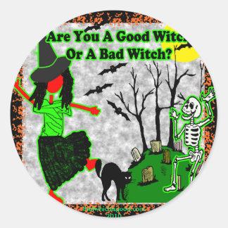 ¿Halloween - buena bruja? Pegatina Redonda
