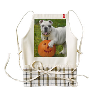 Halloween bulldog zazzle HEART apron