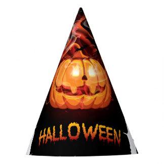 Halloween burning pumpkin and bats party hat