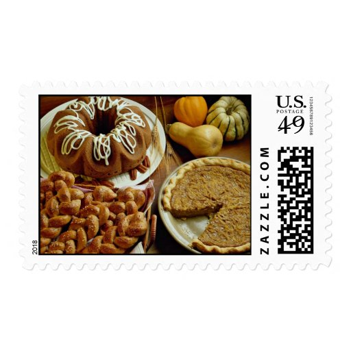 Halloween cake and pie postage stamps