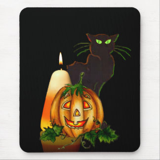 HALLOWEEN CANDLE, JACK & CAT by SHARON SHARPE Mouse Pad