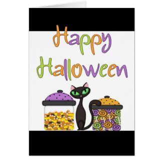 Halloween Candy Black Cat Greeting Card