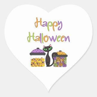 Halloween Candy Black Cat Heart Sticker