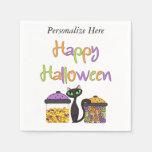 Halloween Candy Black Cat Paper Napkins
