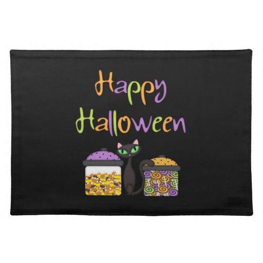 Halloween Candy Black Cat Place Mats