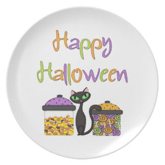 Halloween Candy Black Cat Plate