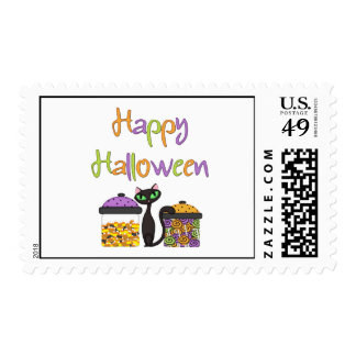 Halloween Candy Black Cat Postage Stamps