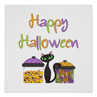 Halloween Candy Black Cat Poster