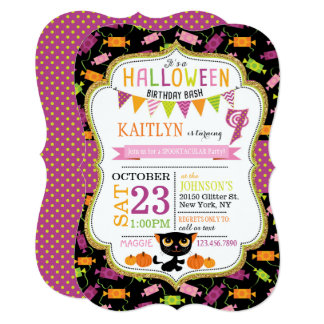 Halloween Candy Black Cat Pumpkins Birthday Card