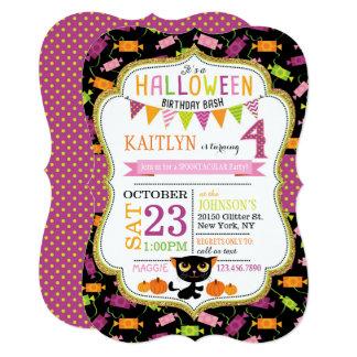 Halloween Candy Black Cat Pumpkins Birthday Card
