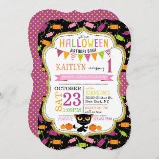 Halloween Candy Black Cat Pumpkins Birthday Invitation