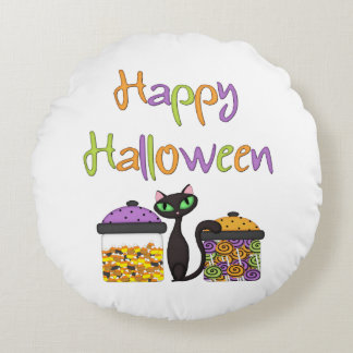 Halloween Candy Black Cat Round Pillow