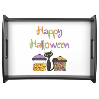 Halloween Candy Black Cat Serving Trays