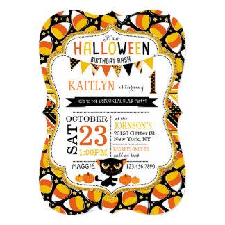 Halloween Candy Corn Black Cat Pumpkins Birthday 5x7 Paper Invitation Card