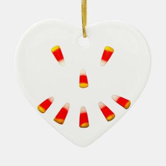 Halloween Candy Corn Grin Ceramic Ornament