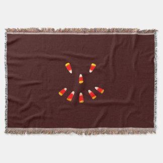 Halloween Candy Corn Grin Throw Blanket