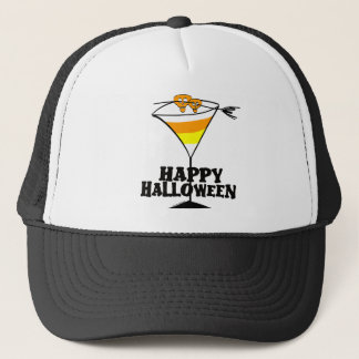 Halloween Candy Corn Martini Trucker Hat