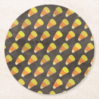 Halloween Candy Corn Pattern Round Paper Coaster