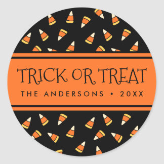 Halloween Candy Corn Personalized Trick or Treat Classic Round Sticker