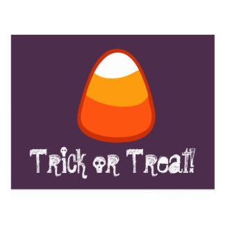 Halloween Candy Corn Trick or Treat Gift Purple Postcard