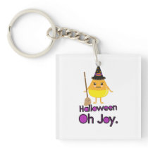 Halloween Candy Corn Witch square Keychain