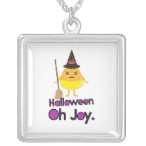 Halloween Candy Corn Witch square Silver Plated Necklace
