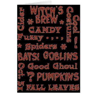 Halloween Candy Costume Oct 31 Orange and Black Card
