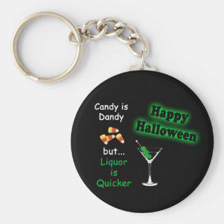 Halloween Candy is Dandy - Candy Corn & Martini Basic Round Button Keychain