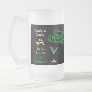 Halloween Candy is Dandy - Candy Corn & Martini Frosted Glass Beer Mug