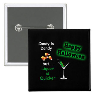 Halloween Candy is Dandy - Candy Corn & Martini Pinback Button