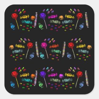 Halloween Candy Pattern Square Sticker