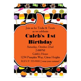 Halloween Candy & Sweets Pumpkin Party Invitation