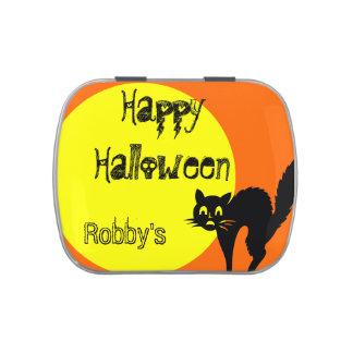 HALLOWEEN CANDY TIN :  BLACK CAT, ORANGE & YELLOW